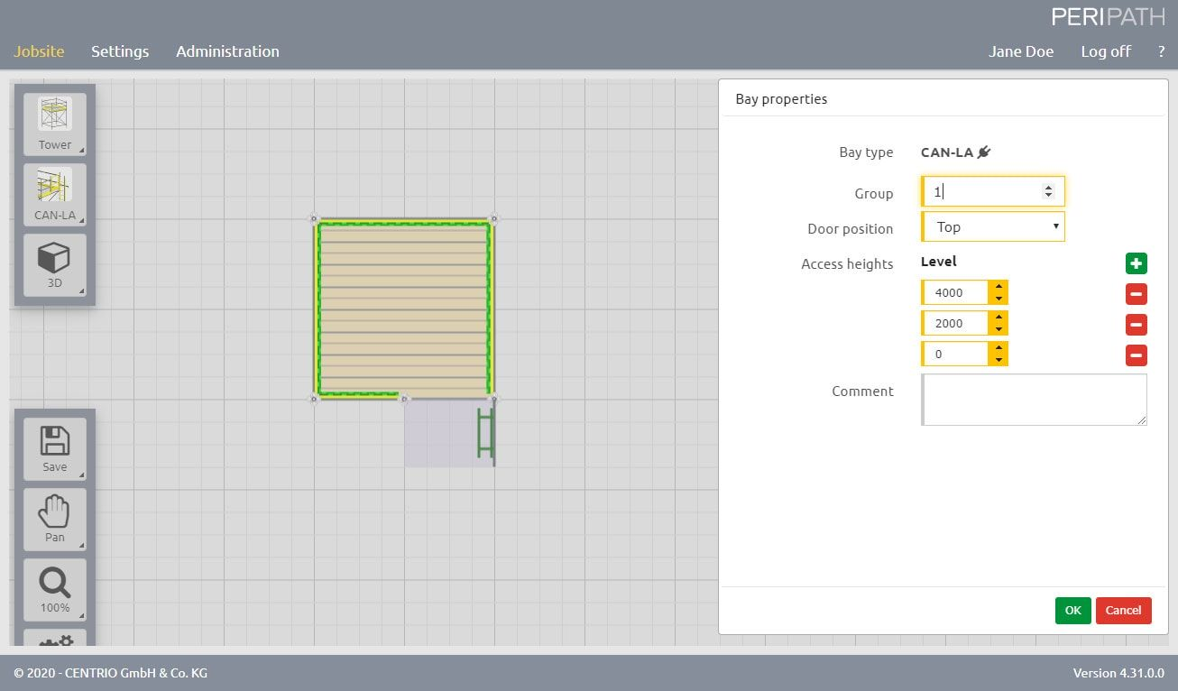 Canadian ladder access | Properties | 2D View Scaffold Estimation Tool
