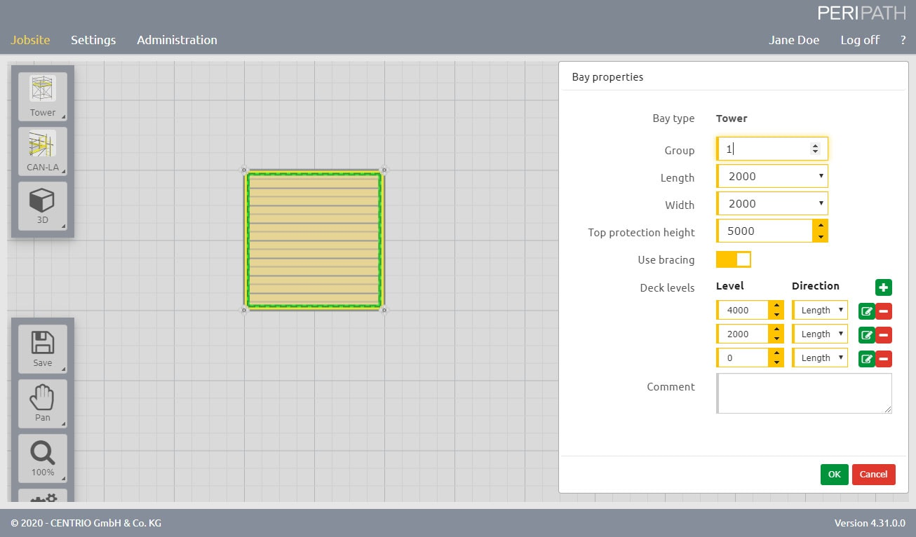 Tower | Properties | 2D View Scaffold Estimation Tool