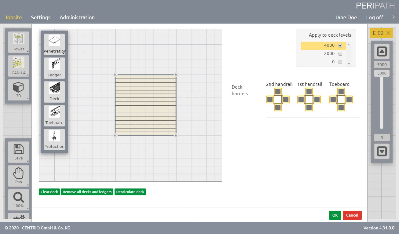 Tower | Deck configurator | 2D View Scaffold Estimation Tool