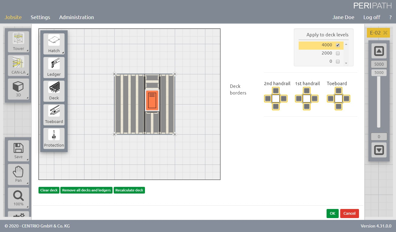 Tower with Hatch | Deck configurator | 2D View Scaffold Estimation Tool