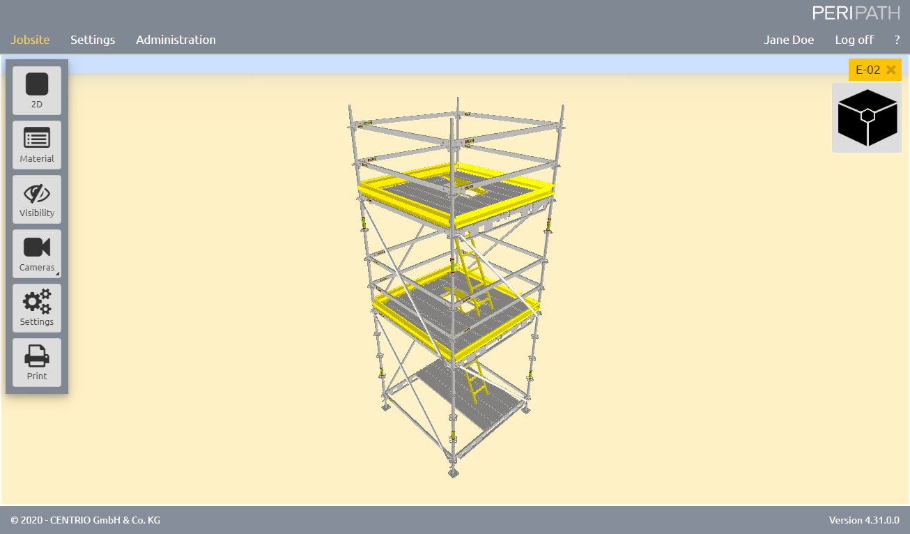 Tower with Hatch | Deck configurator | 3D View Scaffold Estimation Tool