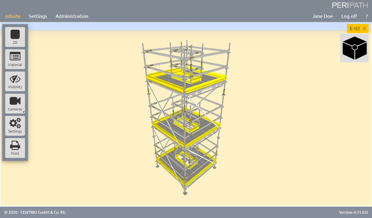 Tower with Penetration | Deck configurator | 3D View Scaffold Estimation Tool
