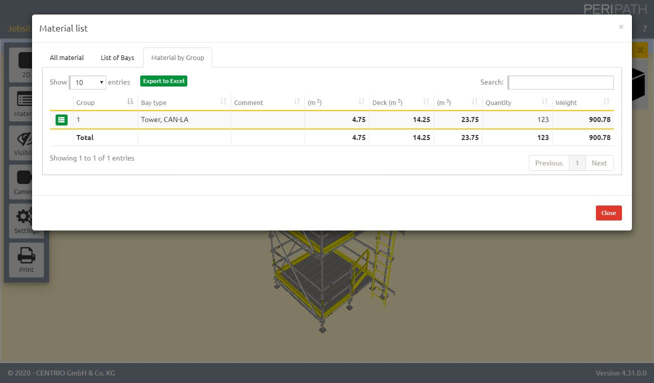Material by Group | Material list | Scaffold Estimation Tool